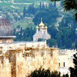 View from Zion Gate towards St Mary Magdalena - Mt of Olives