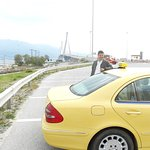 Kostas at new bridge over the Gulf of Corinth. He understood old people need rest stops often