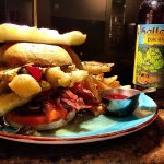 House-ground tenderloin burger and local Halleck Pale Ale