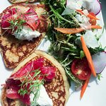 House-cured salmon blini