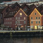 Hotel, seen from boat on Bergen Harbor