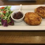 Gorgeous fish cakes with gorgeous beetroot chutney.