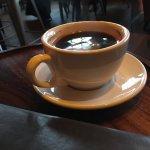 Nice Americano by the fireplace on a rainy day in Seattle.
