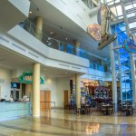 The History Center's Lykes Atrium welcomes visitors with a dazzling view the Tampa Riverwalk.