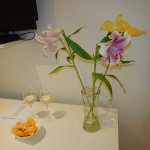Wine, snacks & flowers waiting for us daily