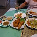 Tempura tiger prawns with 4 dips and tomato salad