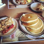 Hash Browns, Bacon and Pancakes