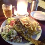 whole grill fish with Lion beer