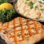Oak Grilled Salmon with Rice Pilaf
