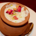 Dessert- Malai Frini, light, creamy and sweet chilled rice pudding topped with nuts and dried ro