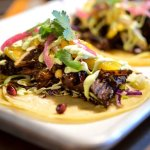 Pork Mole Tacos served with house-made mole sauce!  From our February cafe menu!