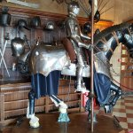Inside the castle the great hall armoury