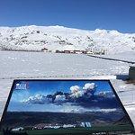 View of the farm and glacier.