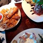 Clockwise: Cheese sticks & onion strings; Bruschetta; shrimp scampi