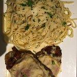 Crispy chicken fontina, chicken Marsala with green beans, Pasta carbonara