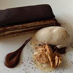 Opera Gateau With Capacino Ice Cream