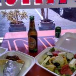 Gyro, salad and greek beer