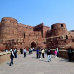 the impressive walls of Agra Fort