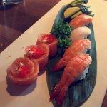A mix plate of nigiri sushi:salmon, avocado and shrip
