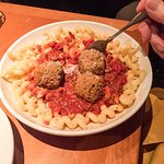 Pasta, marinara sauce and meat balls