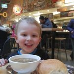 Our youngest customer loving his soup!