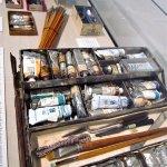 Georgia O'Keeffe's paintbox/art supplies, Santa Fe, NM