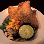 Negro and Shredded Chicken Empanadas with Mango Slaw and dip