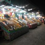 Some stalls at night