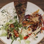 Mushroom/cheddar quiche and three salads