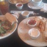 small spinach salad and shrimp/feta quesadillas ice tea @ Sinclair's