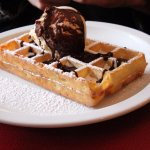 A waffle with ice-cream