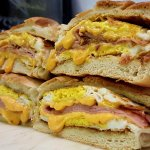 Breakfast Sandwiches (Pictured Ham, Egg and Cheese)