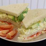 Our Traditional Triple Sandwich: egg spread, avocado and tomato. Light and exquisite!