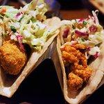 Fried oyster tacos w/ jicama slaw