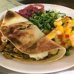 Vegetable Quesadilla w/ mango salsa & red onion escabeche