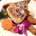 Macadamia nut crusted Mahi Mahi - the vegi were awesome too