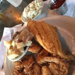 Fried Shrimp and Flounder combo with slaw and potatoes