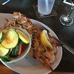 Shrimp Skewers with Margarita glaze and sautéed veggies