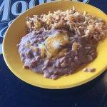 Street tacos (chicken). Side of beef empeñadas. Refríes beans.