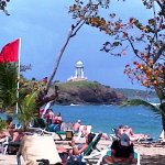Beach is public so vendors are allowed.
