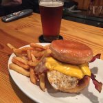 Food speaks for itself! Doughnut burger with fried egg and brooks red ale and the blue burger wi