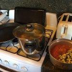 A punto de cocinar paella en una de las 3 cocinas bonitas...