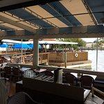 Eating area overlooking the waterway