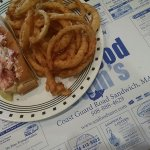 Lobster roll and onion rings.