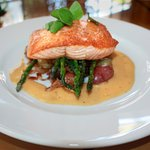Honey Truffle Glazed Pan Seared Alaskan Salmon