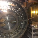 Pictures of the bank vault with a dining area
