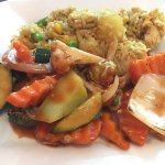 Sweet and Sour Vegetables with Pineapple Fried Rice.