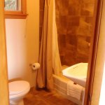 Our bathroom was very clean with warm tile tones!