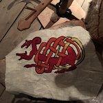 Decorative dragon embroidery on cloth.