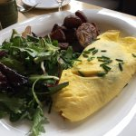 Quiche Lorraine Omelet with roasted potatoes and salad